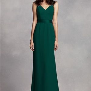 Long V Neck Gown- White by Vera Wang